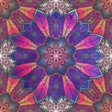 Seamless pattern with floral ornament. Round kaleidoscope and Royalty Free Stock Image