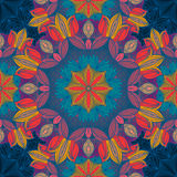Seamless pattern with floral ornament. Round kaleidoscope and Royalty Free Stock Photos
