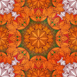 Seamless pattern with floral ornament. Round kaleidoscope and Stock Images