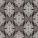 Seamless Pattern with floral Ornament and Strips Stock Photo