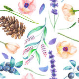 A seamless pattern with a floral ornament of the watercolor forest elements: berries, cones, lavender, wildflowers and branches Royalty Free Stock Photography