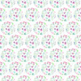 Seamless pattern of floral watercolor circles Royalty Free Stock Images