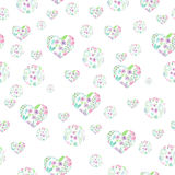 Seamless pattern of floral watercolor circles and hearts Royalty Free Stock Images