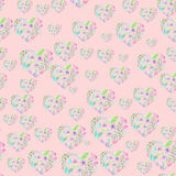 Seamless pattern of floral watercolor hearts Stock Photography