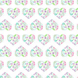 Seamless pattern of floral watercolor hearts royalty free stock images