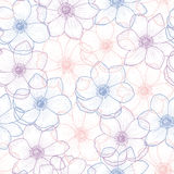 Seamless pattern of flower anemone. Floral seamless pattern flower anemone in color pantone 2016, anemone background, flower seamless pattern for greeting card Royalty Free Stock Image