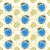 Seamless pattern flower and beetle Stock Afbeeldingen