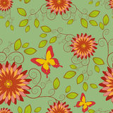 Seamless pattern with flower and butterfly Stock Image