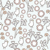 Seamless pattern of flower and chick cartoon background Royalty Free Stock Photography
