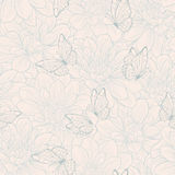 Seamless pattern with flower dahlia and butterfly . Floral ornament. Hand-drawn contour lines and strokes. Royalty Free Stock Photo
