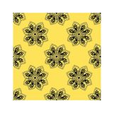 Seamless pattern of flower doodle art on yellow background royalty free illustration