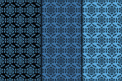 Seamless pattern with flower element. Black and blue collection Royalty Free Stock Photography