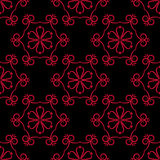 Seamless pattern with flower element. Red and black abstract wallpaper. Vector illustration stock illustration