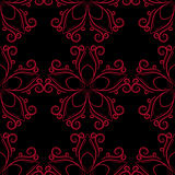 Seamless pattern with flower element. Red and black abstract wallpaper. Vector illustration royalty free illustration