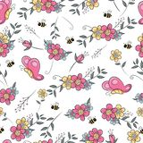 Seamless pattern flower field with butterfly and bee. This is perfect for children, can be used as invitation birthday party, posters, backgrounds, wallpapers royalty free illustration