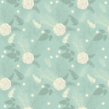SEAMLESS PATTERN FLOWER, FLORAL BLUE BACKGROUND Royalty Free Stock Image