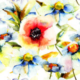 Seamless pattern with flower. S, watercolor flowers Stock Photo