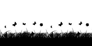 Seamless Pattern Flower and Grass Banner. Vector Royalty Free Stock Photo