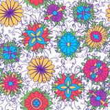 Seamless pattern with flower icons on white background. Royalty Free Stock Photo