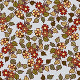Seamless pattern of flower and leaf background Stock Photo