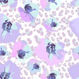 Seamless pattern of flower orchids Stock Photo