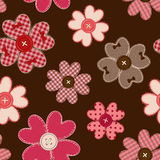 Seamless pattern of flower patchworks and buttons Stock Photo