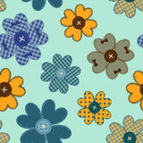Seamless pattern of flower patchworks and buttons Stock Photos