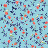 Seamless pattern flower rose with birds blue background Stock Image