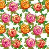 Seamless pattern Flower rose with leaves. vector illustration stock illustration