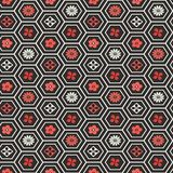 Seamless Pattern with Flower Shapes in Honeycomb Cells. Vector pattern for web, print, wallpaper, home decor, textile, wrapping paper, fabric and invitation stock illustration