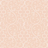 Seamless pattern flower. Simple line art seamless vector pattern design element with scroll shape and flower Stock Photo