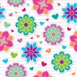 Seamless pattern of flower stickers Stock Photo