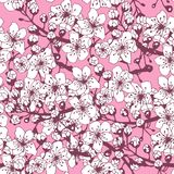 Seamless pattern from the flowering branches of apricot. stock illustration