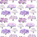 Seamless pattern of flowering Chinese acacia garden painted in w Royalty Free Stock Image