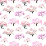 Seamless pattern of a flowering Japanese cherry garden painted i Stock Photos