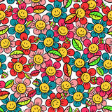 Seamless pattern with flowers Stock Photo
