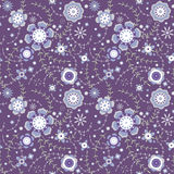 Seamless Pattern Flowers At Dark Blue Background Stock Photography