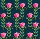 Seamless pattern of flowers. Seamless pattern of beautiful flowers on dark blue background Royalty Free Stock Photography