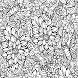 seamless pattern of flowers and bees. Stock Images