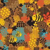 Seamless pattern with flowers and bees. Stock Photography
