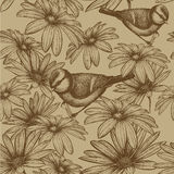 Seamless pattern with flowers and bird titmouse. V Royalty Free Stock Photo