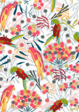 Seamless pattern with flowers and birds Royalty Free Stock Image