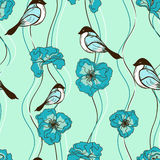 Seamless pattern of flowers and birds Royalty Free Stock Photo
