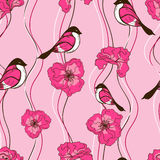 Seamless pattern of flowers and birds Stock Images