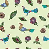 Seamless pattern with flowers and birds. Stock Images
