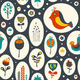 Seamless pattern with flowers and birds on gray background. Royalty Free Stock Photos