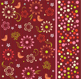 Seamless pattern of flowers with birds (vector) Stock Photo