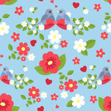 Seamless pattern with flowers and birds Royalty Free Stock Photos