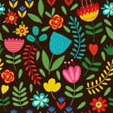Seamless pattern with flowers on black background Stock Photos