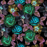 Seamless pattern with flowers on a black background Stock Image